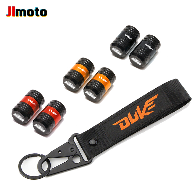 For KTM Duke 125 200 250 390 690 Motorcycle CNC Accessories Wheel Tire Valve Caps Cover Embroidery Key Chain Keychain