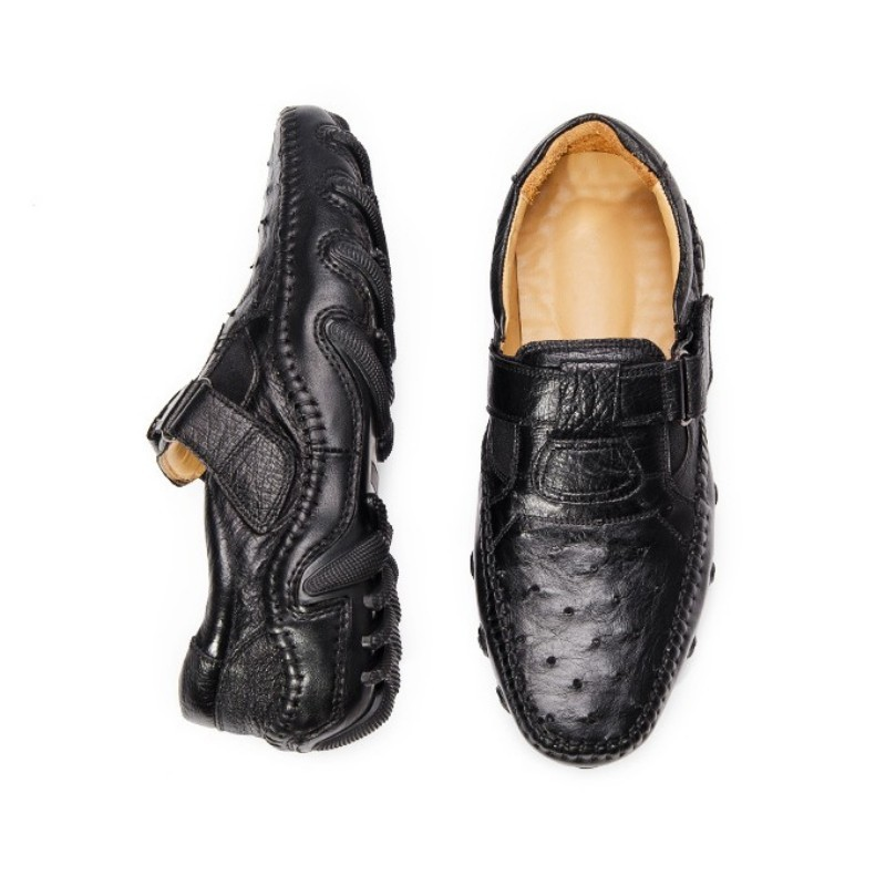 Famous Brand Real Leather Shoes Men Round Toe Loafers Luxury Black Office Crocodile Leather Formal Shoes Driving Mocassin Homme