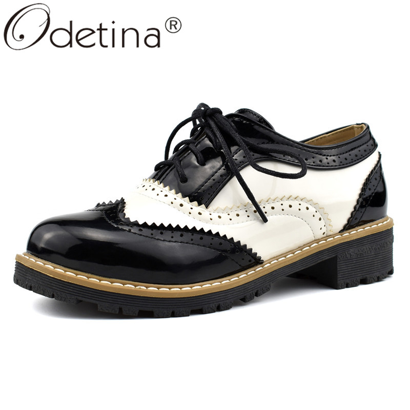 Odetina New Fashion Women Lace Up Saddle Shoes Black And White Cuban Flat Heel Casual Brogues Lace Up Oxford Shoes Big Size 43