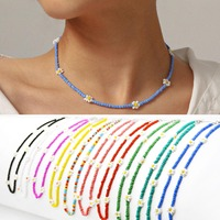 Bunte Kleine Perlen Kette Kragen Halskette für Frauen Daisy Blume Charme Halsband Halskette frauen Sommer Kurzen Hals Ketten Schmuck