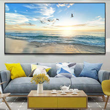 deep blue sea landscape modular print picture wall art canvas paintings decoration for living room unframed Ocean Beach Sea Gull And Sunrise Poster And Print Wall Art Canvas Painting Landscape Picture For Modern Living Room Decoration