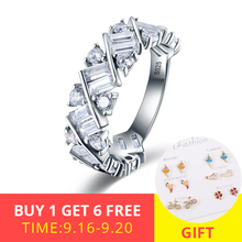 XiaoJing Hot Sale 925 Sterling Silver Vintage Fascination, Clear CZ Big wedding Ring For Women Fashion Jewelry free shippng