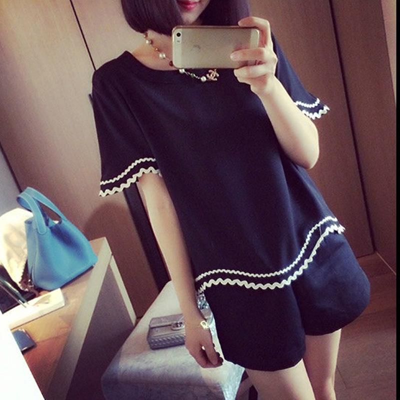 Women's Summer Loose And Plus-sized Two-Piece Set New Style Korean-style Short Sleeved Shorts Suit Large Size Dress Slimming T-s