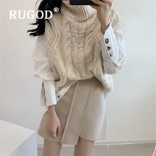 Rugod/осень зима; Новый стиль; Водолазка без рукавов; Однотонный