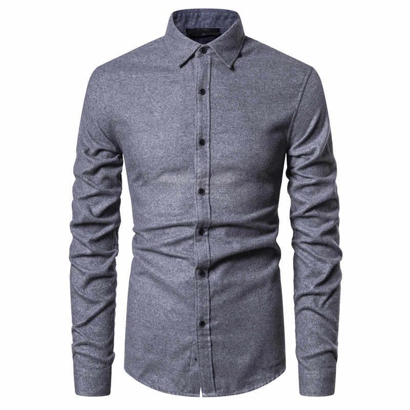 2020 nowa wiosna gruba koszulka socjalna mężczyźni bawełna wysokiej jakości męskie ubranie koszule Slim Fit Casual koszula męska z długim rękawem Soild Shirt
