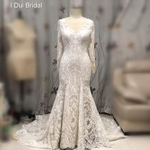 Luxo laço sereia vestido de casamento manga longa ilusão decote novo estilo vestido de noiva