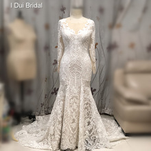 Luxury Lace Mermaid Wedding Dress Long Sleeve Illusion Neckline New Style Bridal Gown
