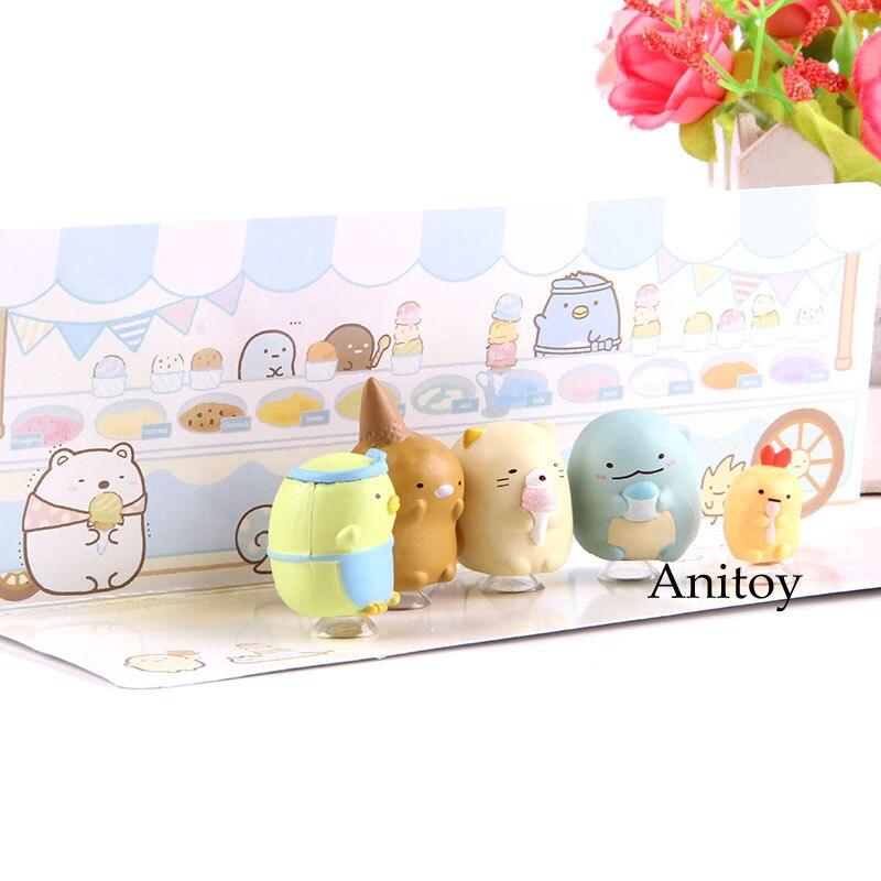Anime 5pcs/set Sumikkogurashi Penpen Ice Cream Ver. Cute Anime Sumikko Gurashi Action Figure PVC Model Toys Dolls For Kids