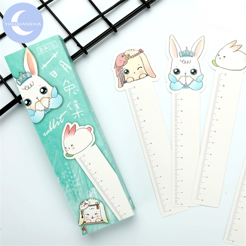 YUEGUANGXIA 30pcs/box Rabbit Paper Ruler Irregular Bookmarks Reading Book Holder Message Card Stationery School Office Supply