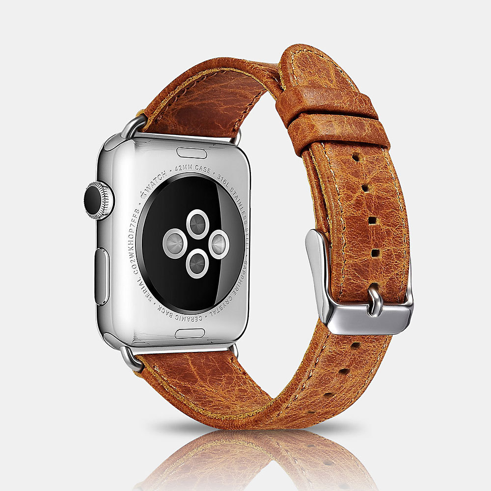 Icarer Suitable For IWatch Cowhide Watch Band Classical 42 44 Size APPLE Watch Leather Watch Strap