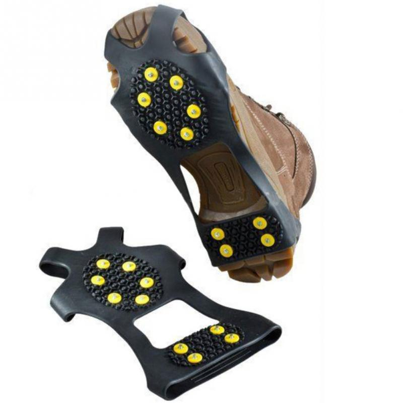 1 Pair Hot Sale 10 Studs Anti-Skid Snow Ice Climbing Shoe Spikes Grips Crampons Cleats Overshoes Snow Skid Sole Non-slip Sole