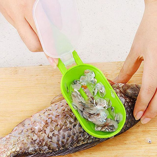 Hot! 1PC Portable Fish Scales Skin Remover Scaler Fast Cleaning Fish Skin Stainless Steel Scraper Kitchenware Clean Peeler Tool