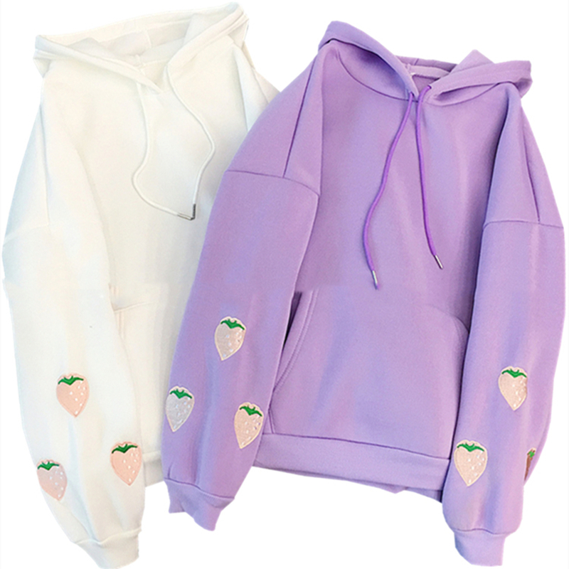 H84cef469f98a4cd3920bcfb13ad6ea6fw - Harajuku Strawberry Embroidery Lavender Pink Sweatshirt Autumn Winter Women Kawaii Loose Long Sleeves Tops Oversized Hoodies XXL