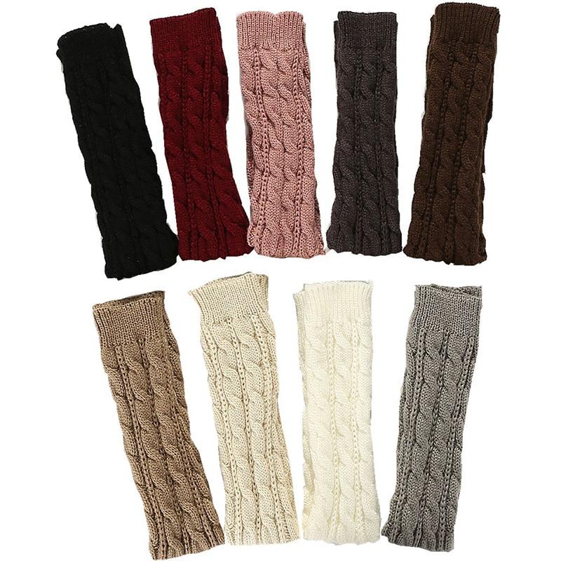 Женские осенне-зимние перчатки с полупальцами, длинные 8-образные вязаные теплые перчатки с открытыми пальцами на рукавах