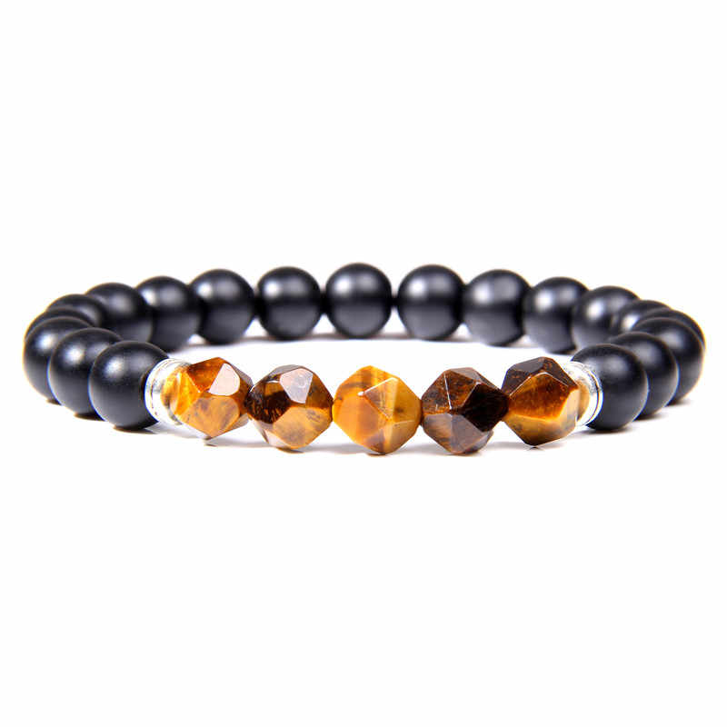 Men Bracelets Beads Natural Stone Black Onyx with Faceted Tiger Eye Beaded Bracelets for Women Energy Balance Jewelry Gift