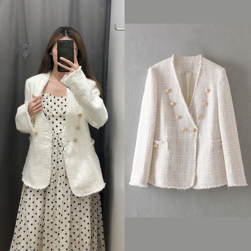 2020 Women Elegant White Coat Double Breasted V Neck Buttons Jacket Office Wear Female Casual Outwear Top Blusas