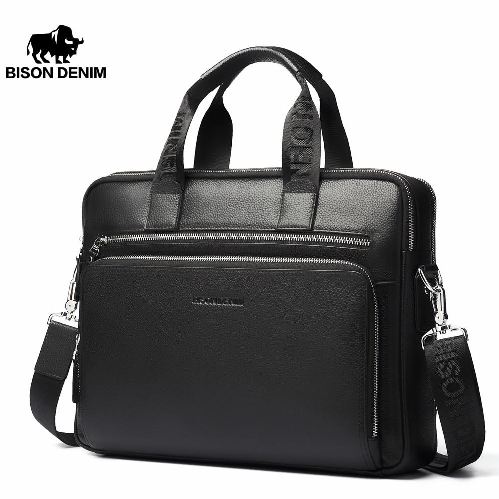 """BISON DENIM Genuine leather Briefcases 14"""" Laptop Handbag Men's Business Crossbody Bag Messenger/Shoulder Bags for Men N2333 3 leather briefcase leather business briefcasebriefcase business - AliExpress"""