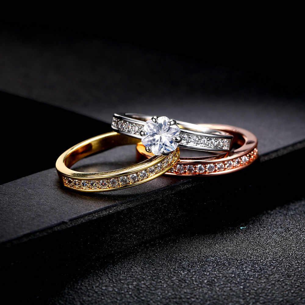 Original 925 Silber Ring Sets Sparkly Strass Zirkon Drei Stapelbar Diamant Ring Für Frauen Hochzeit Engagement Schmuck Geschenk