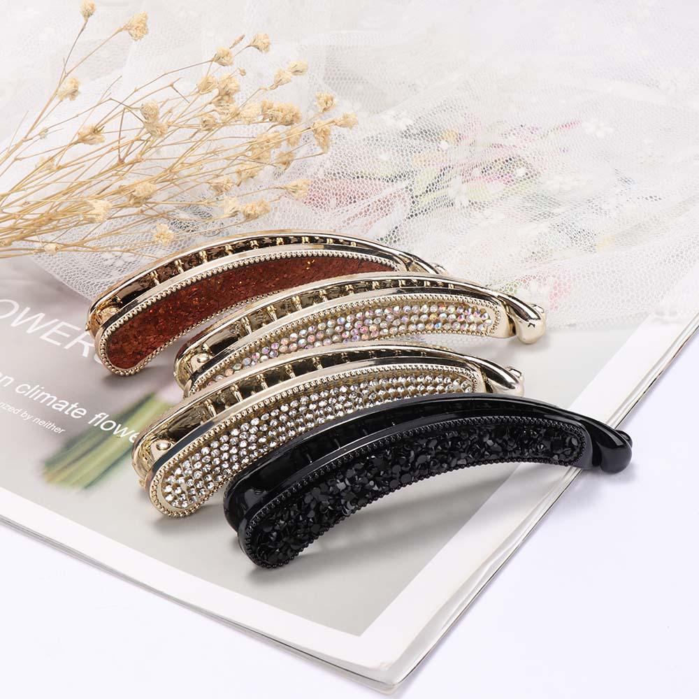 Women Leopard Print Crystal Hair Clip Barrette Stick Clamp Hairpin Accessories