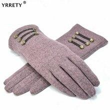 YRRETY, женские кашемировые перчатки для улицы, Осень-зима, женские теплые перевернутые рукавицы, хлопковые перчатки на запястье, однотонные женские шерстяные перчатки