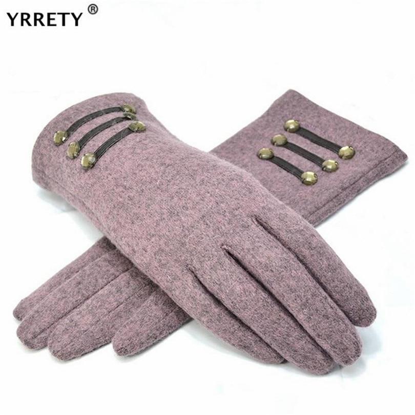 YRRETY Womens Outdoor Cashmere Gloves Autumn Winter Female Warm Inverted Mitten Cotton Wrist Screen Glove Solid Woman Wool Glove