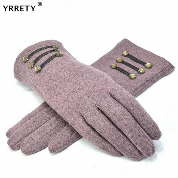 YRRETY Womens Outdoor Cashmere Gloves Autumn Winter Female Warm Inverted Mitten Cotton Wrist Screen Glove Solid Woman Wool
