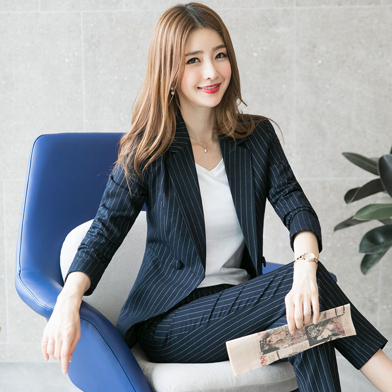Women's Suit 2019 Autumn New Fashion Temperament Casual Striped Waist Single Breasted Small Suit Trousers Two-piece Suit