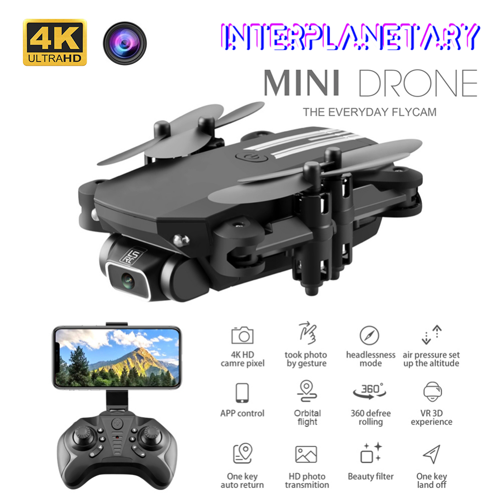 INTERPLANETARY Mini RC Drone with 4K HD Camera WiFi FPV UAV Aerial Photography Helicopter Foldable LED Light Quadrocopter
