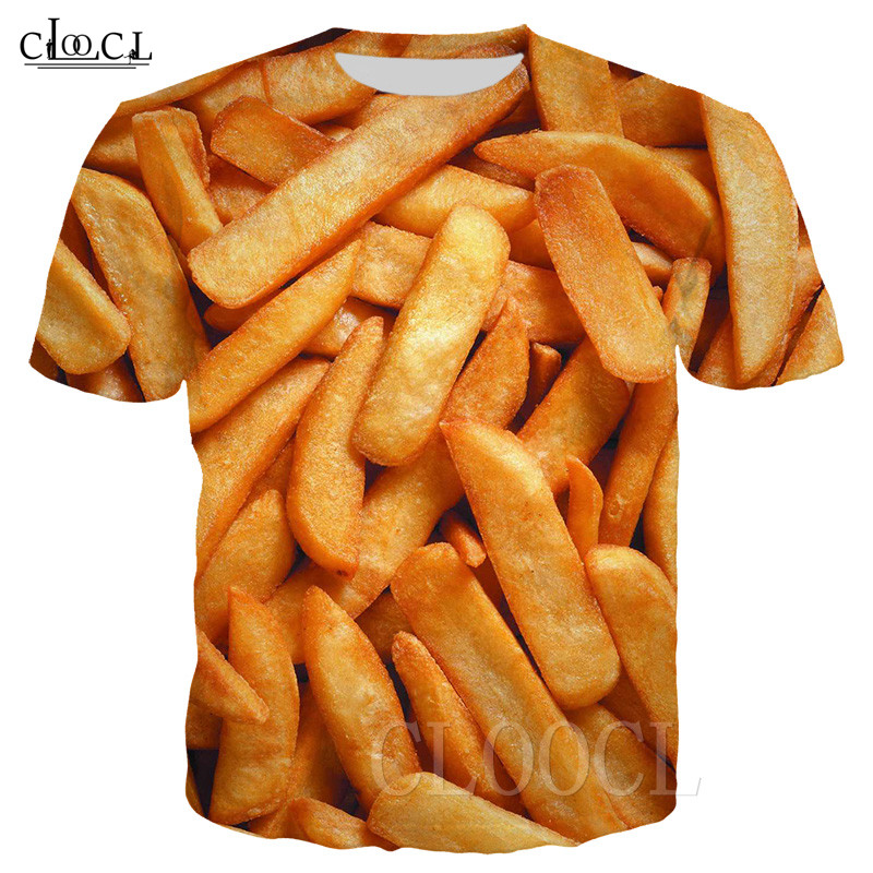 Potato Chips T Shirt Men Women 3D Print Food Delicious French Fries Sportswear Popular Hipster Streetwear Hip Hop Pullovers Tops