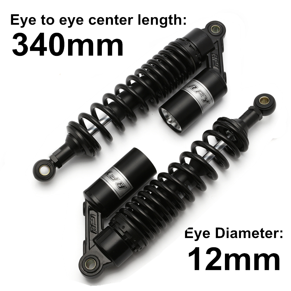 "Universal 13.5"" 340mm Diameter 12mm Black Rear Air Shock Absorber Suspension Spring Motorcycle Scooter Dirt Bike Motors