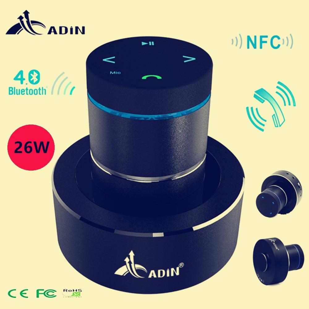 Adin 26w Vibration Speaker Bluetooth Resonance Vibration Touch Stereo Mini Portable Bass Speaker Subwoofe NFC Handsfree with Mic