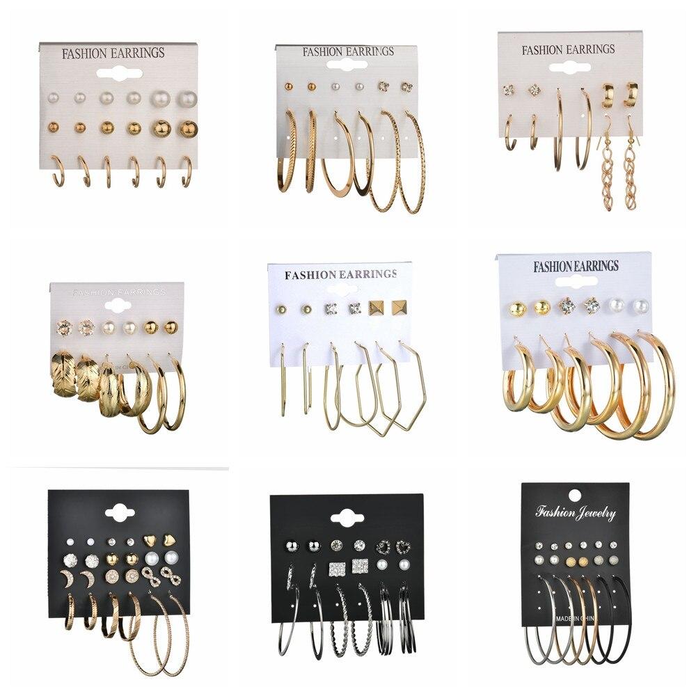 MissCyCy 6 Pairs Rhinestone Crystal Simulated Pearl Earrings Set Gold Color Leaves Hoop Earrings For Women Gift