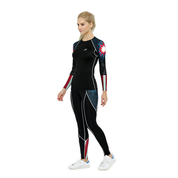 Bike Compression Suits Top&Pants Sets Women's Cycling Fitness Sports Tights Bodysuit Print Jogging Tee&Legging