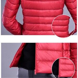 Image 5 - 2019 marke kleidung Frauen warme winter 90% Weiße ente unten jacke/Super licht dünne Parka Weibliche Ultra Licht Unten mantel Kurze Tops