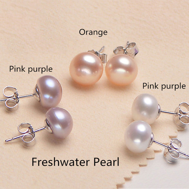 Silver 925 Jewelry Natural Freshwater Pearl Earrings Popular Jewelry Earrings For Women Engagement Wedding Pearl Ear Studs 1