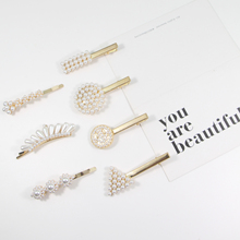 Korea Vintage Imitation Pearl Metal Hairpins Hair Clips for Women Girls Accessories Free Shipping