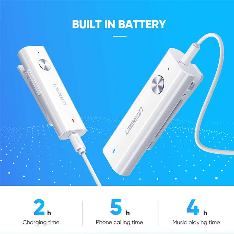 UGREEN Bluetooth Receiver 5.0 HI FI Wireless Audio Adapter Mendukung Mikrofon 3.5Mm AUX Bluetooth AptX Akan Adapter dengan Baterai