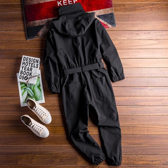 Autumn New Men's Loose Bib Overalls Hip Hop Jumpsuits With Hooded Jacket Belt Male Workwear Bib Coveralls Suspender Pants 2