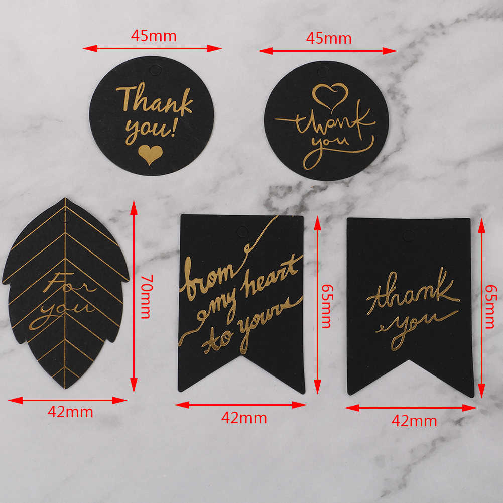 10pcs Party Birthday Decor Gold Stamping Thank You Paper Gift Tags White Black Paper Hang Tag Label for Gift Box
