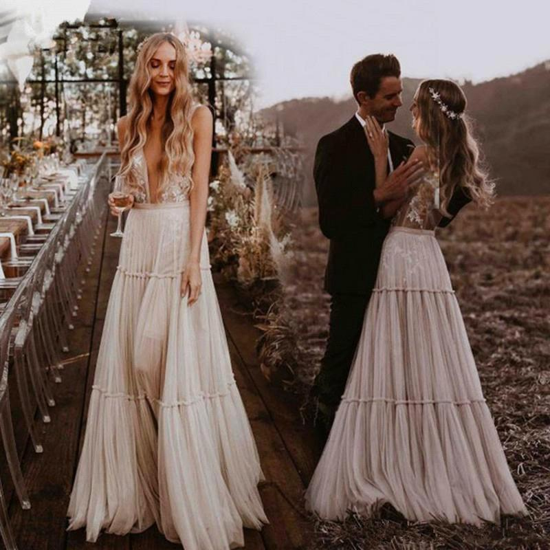 >2020 Deep V-Neck Nude Champagne Wedding Dresses Boho Beach Vintage Lace Bohemian Wedding Gowns Sexy <font><b>Backless</b></font> <font><b>Vestido</b></font> <font><b>De</b></font> Noiva