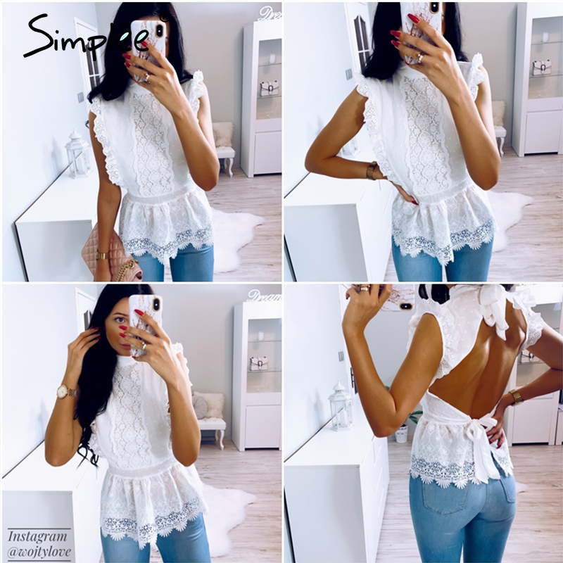 Image 2 - Simplee Backless lace embroidery women tank tops Ruffled hollow out peplum tops female summer style Streetwear ladies white topsTank Tops   -