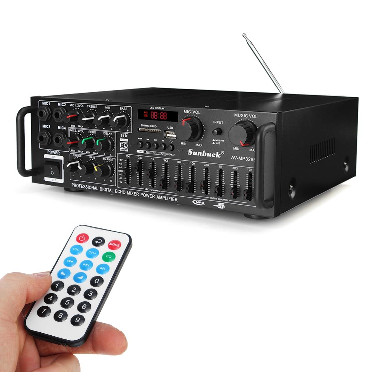 2000W 110 V/220 V 2 canales bluetooth inicio estéreo amplificador de Audio USB SD amplificadores remotos subwoofer amplificador - 4