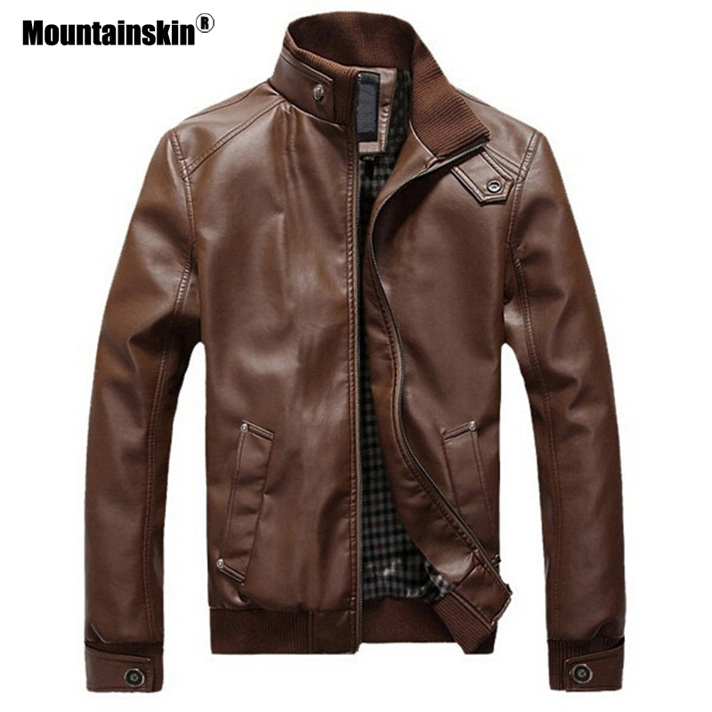 Mountainskin Winter Men's Leather Jacket New Mens Motorcycle PU Coat Warm Windproof Slim Fit Outwear Male Brand Clothing SA845