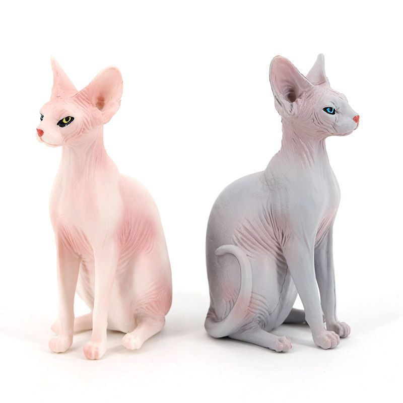 White Animal Model Toy Home Desktop Decoration Ornament Sphynx Hairless Cat Statue Figurine Simulation Hairless Cat Model