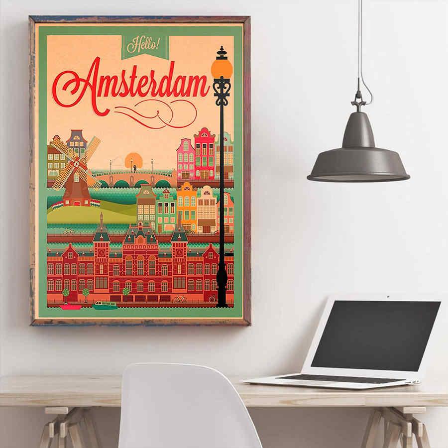 เนเธอร์แลนด์ภูมิทัศน์ Windmill สถาปัตยกรรมทิวทัศน์ธรรมชาติมือวาดกระดาษคราฟท์สติ๊กเกอร์ติดผนังโรงแรม Cafe Bar Decor 42x30 ซม.