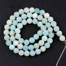 Natural Gem Dull Polished Amazonite Round Loose Beads For Jewelry Making 4mm-10mm Matte Spacer Diy Bracelet Necklace 15