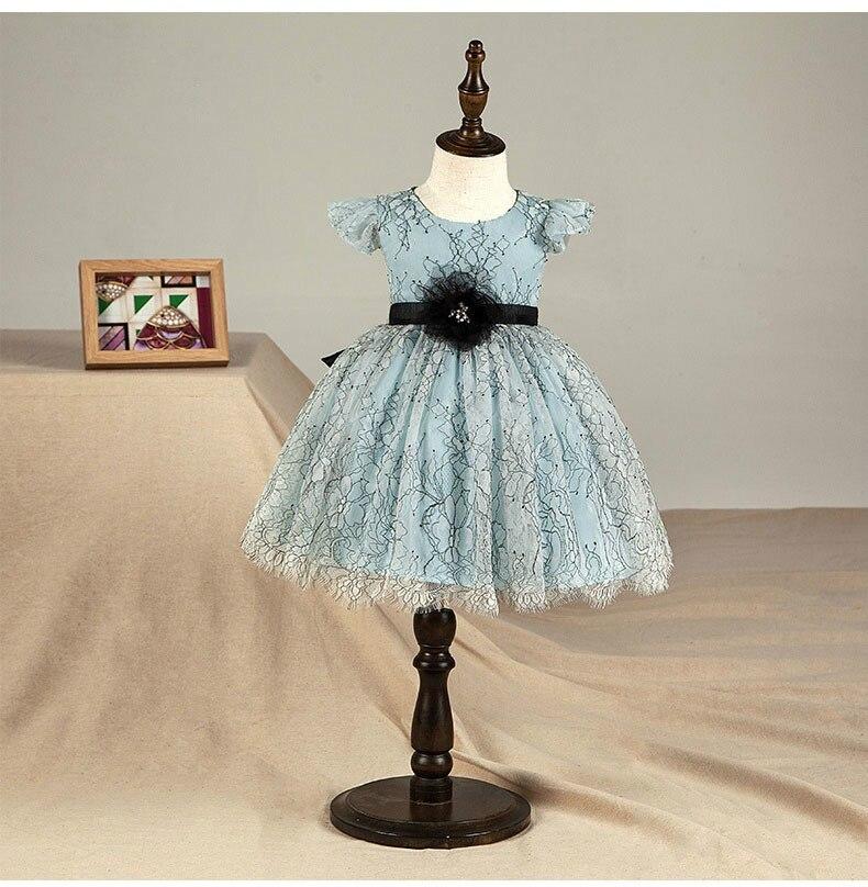 Fleur bébé fille robe de noel bleu enfant en bas âge Tutu mariage anniversaire robe de princesse pour filles enfants Costume adolescent robe