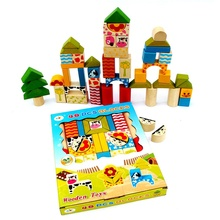 Children's Wooden Building Blocks Color Building Blocks Educational Buildings and 48PCS Cutting Board Children Learning Shapes wooden block colorful blocks education wood building and 48pcs chopping blocks for child learning shape