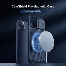 Magnectic caso para iphone 12 pro max 12 pro caso para o carregamento sem fio à prova de choque nillkin câmera proteção caso