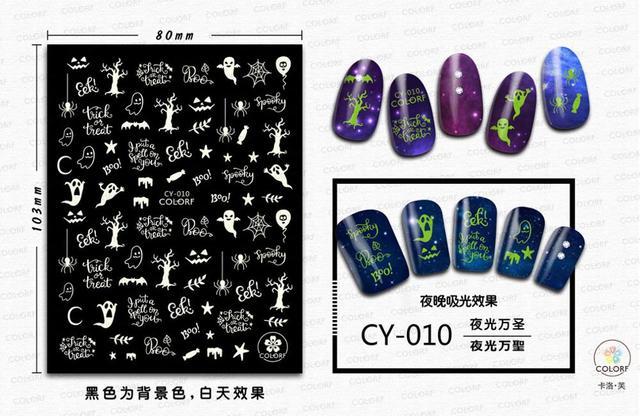 Фото morixi стикер для дизайна ногтей светящийся хэллоуин серии светится цена